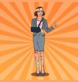 pop art injured business woman smiling vector image vector image