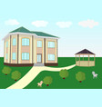 residential house with pergola vector image