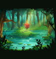 scarlet flower on an island in a swamp in the vector image vector image