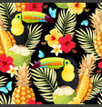 seamless pattern with toucan and fruits vector image vector image