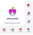 set of apple with medical plus logo design vector image