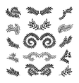 Set of hand drawn laurels wreath branches vector image