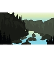 Silhouette of river and rock vector image vector image