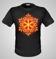 t shirts Black Fire Print man 12 vector image vector image