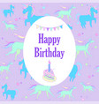 unicorn holiday card with stars and piece of cake vector image