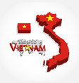 vietnam 3d flag and map vector image vector image