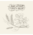 Wheat and hop on sepia vector image vector image