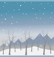 winter snowy landscape with mountains and dark vector image