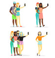 young diversity people taking selfie flat vector image vector image