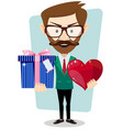 young man smiling holding gift and heart vector image