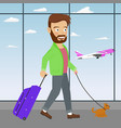 young man with luggage and dog in airport vector image vector image