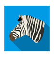 zebra icon in flat style isolated on white vector image vector image