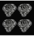 pattern elephant head outline black background vector image