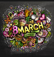 8 march hand drawn cartoon doodles vector image