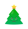 angry christmas tree isolated emoticon vector image vector image