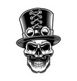 black and white of a steampunk skul vector image vector image