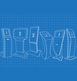 blueprint of set of promotional information kiosk vector image vector image