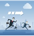 business people group run team leader under arrow vector image vector image