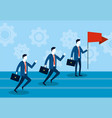 businessmen running with briefcase and red flag vector image