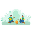 camping man and woman in park people bonfire vector image