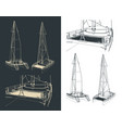 catamaran drawings vector image vector image