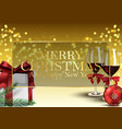 christmas background with gifts wine glass vector image vector image