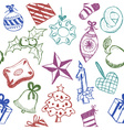 Christmas symbols doodles vector image vector image