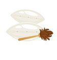 clean fresh soft pillows and duster with wooden vector image