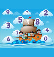 counting numbers with children on ship vector image vector image