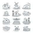 farm and farming fields linear icons vector image vector image