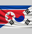flag north korea and south korea friendship vector image