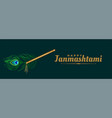flute and peacock feather for janmashtami vector image vector image