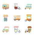 food vehicle icons set cartoon style vector image vector image