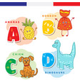 french alphabet pineapple sweet dog dinosaur vector image vector image