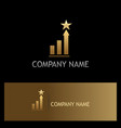 gold star chart business finance logo vector image