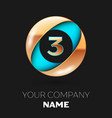 golden number three logo in blue-golden circle vector image