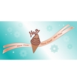 Greeting banner Chocolate icecream with decor vector image