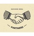 Handshaking vintage vector image vector image