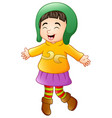 happy girl in winter clothes vector image vector image