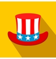 Hat in the USA flag colors flat icon vector image vector image