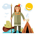 indian with a spear flat style colorful vector image vector image