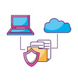 laptop cloud computing folder document security vector image vector image