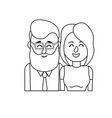 line nice couple with hairstyle design vector image