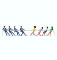 man vs woman in tug war vector image