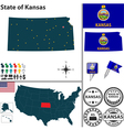 Map of Kansas vector image vector image
