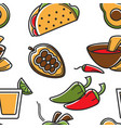 mexican food seamless pattern mexico cuisine vector image