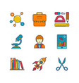 minimal lineart flat education iconset vector image vector image