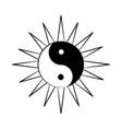 minimalist tattoo boho yin yang line art icon over vector image vector image