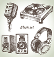 Music set Hand drawn of Dj icons vector image vector image