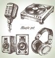 Music set Hand drawn of Dj icons vector image